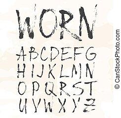 grunge, rasguño, tipografía, fuente, vendimia, tipo