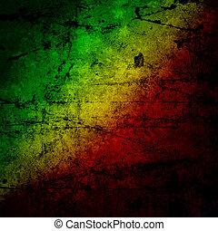 grunge, rasta, pared, concreto, bandera, amarillo, verde,...