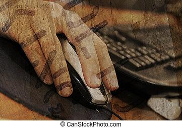 grunge, rato, e, teclado