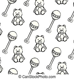 grunge rattle and teddy bear toys background