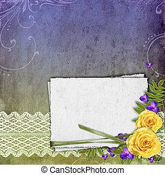grunge, raum, rose, textured, gelber hintergrund, text