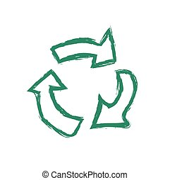grunge recycle symbol vector illustration