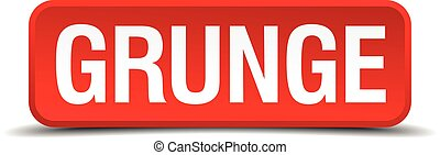 Grunge red 3d square button on white background