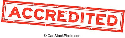 Grunge red accredited word square rubber seal stamp on white background