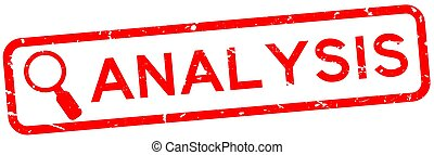 Grunge red analysis word with magnifier icon square rubber seal stamp on white background