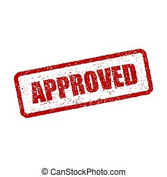 Grunge red approved square rubber seal stamp on white background