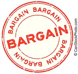 Grunge red bargain word round rubber seal stamp on white background