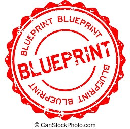 Grunge red blueprint word round rubber seal stamp on white background