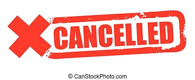 Grunge red cancelled square rubber seal stamp on white background