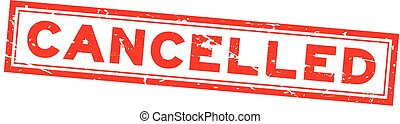 Grunge red cancelled word square rubber seal stamp on white background