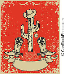 Grunge red christmas card with cowboy boots and cactus on...