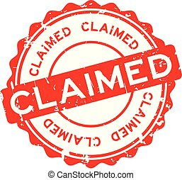 Grunge red claimed word round rubber seal stamp on white background