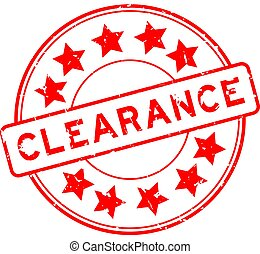 Grunge red clearance word with star icon round rubber seal stamp on white background