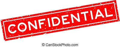 Grunge red confidential word square rubber seal stamp on white background