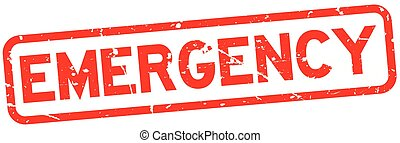 Grunge red emergency word square rubber seal stamp on white background