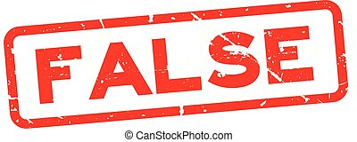 Grunge red false wording square rubber seal stamp on white background