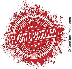 Grunge red flight canseled word round rubber seal stamp on white background