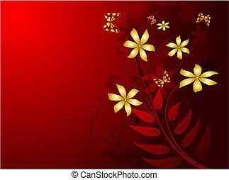 grunge red floral background