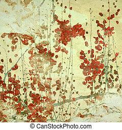 Grunge Red Flowers Art Textured Background