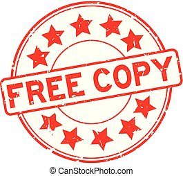 Grunge red free copy word with star icon round rubber seal stamp on white background