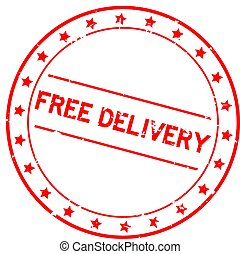 Grunge red free delivery word round rubber seal stamp on white background