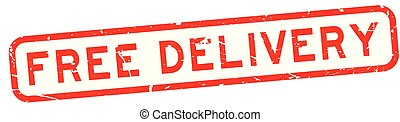 Grunge red free delivery wording square rubber seal stamp on white background