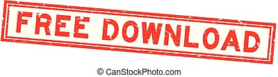 Grunge red free download word square rubber seal stamp on white background