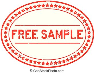 Grunge red free sample word oval rubber seal stamp on white background
