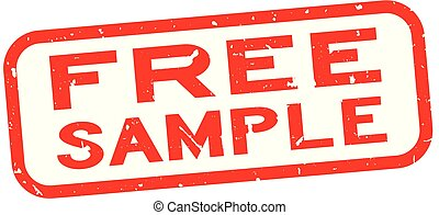 Grunge red free sample word square rubber seal stamp on white background