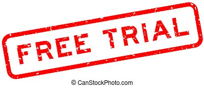 Grunge red free trial word square rubber seal stamp on white background