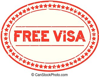 Grunge red free visa oval rubber seal stamp on white background