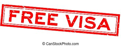 Grunge red free visa word square rubber seal stamp on white background
