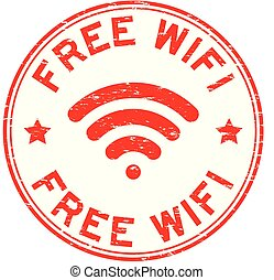 Grunge red free wifi with signal icon round rubber seal stamp