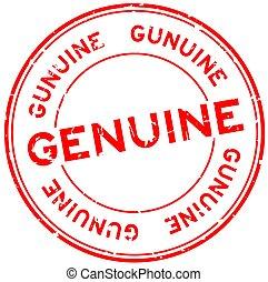 Grunge red genuine word round rubber seal stamp on white background