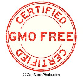 Grunge red GMO free certified round rubber stamp