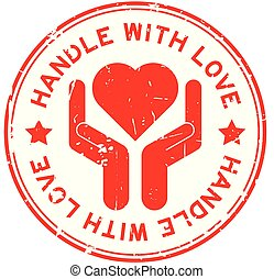 Grunge red handle with love and hand hold the heart icon round rubber stamp