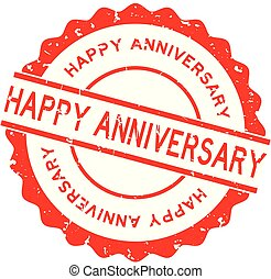 Grunge red happy anniversary word round rubber seal stamp on...