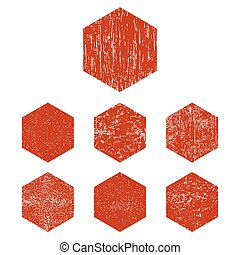 Grunge red hexagon - Grunge hexagon. Red hexagon s set....