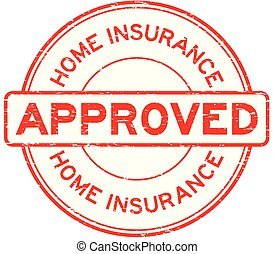 Grunge red home insurance approved round rubber seal stamp