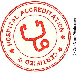 Grunge red hosptial accreditation with stethoscope icon ...