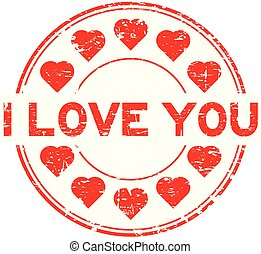 Grunge red I love you with heart icon round rubber stamp