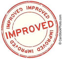 Grunge red improved word round rubber seal stamp on white background
