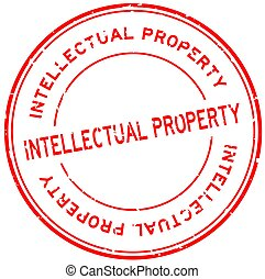 Grunge red intellectual property word round rubber seal ...