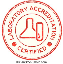 Grunge red laboratory accreditation certified round rubber stamp with glassware icon