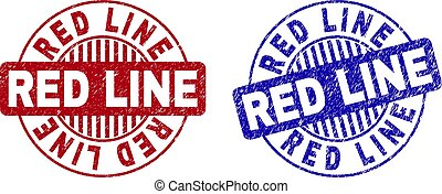 Grunge RED LINE Scratched Round Stamps