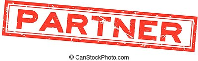 Grunge red partner word square rubber seal stamp on white background
