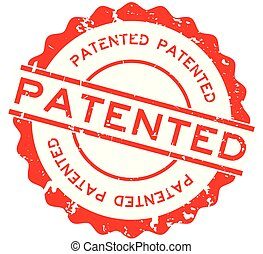 Grunge red patented word round rubber seal stamp on white background