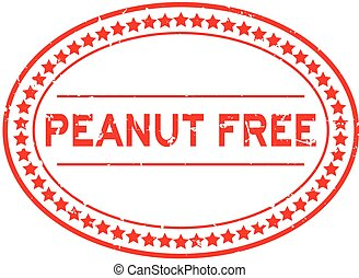 Grunge red peanut free word oval rubber seal stamp on white background