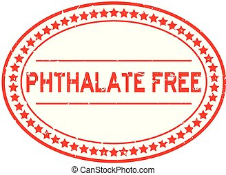 Grunge red phthalate free word oval rubber seal stamp on white background