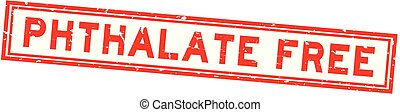 Grunge red phthalate free word square rubber seal stamp on white background